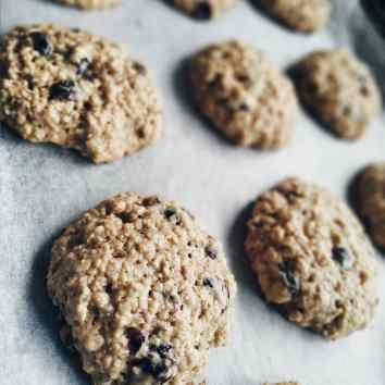 Oat, cranberry, and seeds cookies fresh from the oven
