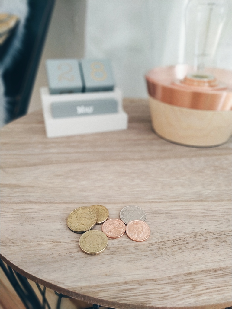 Coins on a coffee table
