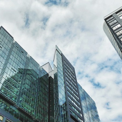 Tall, glass buildings and sky