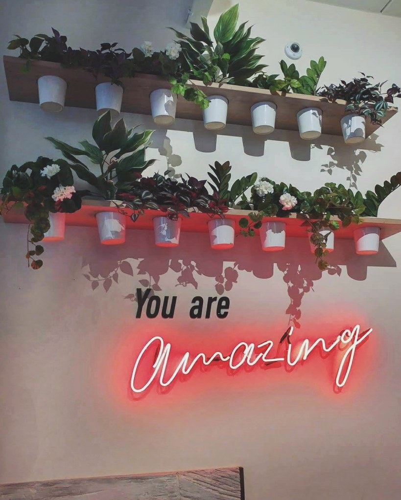 "A white wall with plants on the shelves and the text ""You are amazing"""