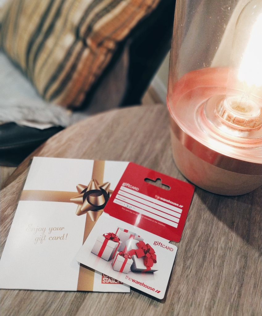 Gift card and lamp in a coffee table