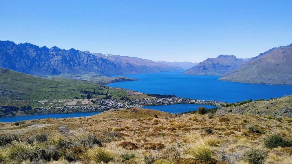 View from Queenstown Hill Summit, overlooking Lake Wakatipu