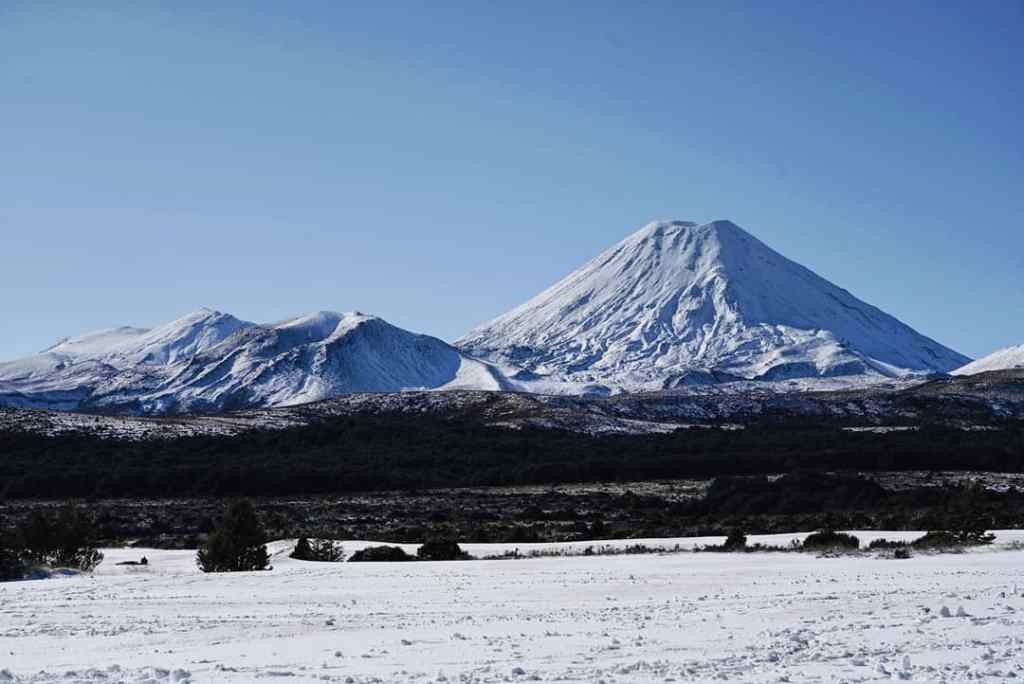 Snowy mountain - view from Whakapapa Village