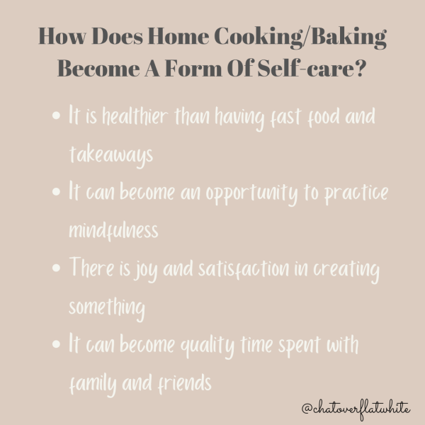 How does home cooking/baking become a form of self-care?